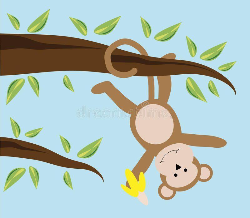 Swinging cartoon monkey from a tree