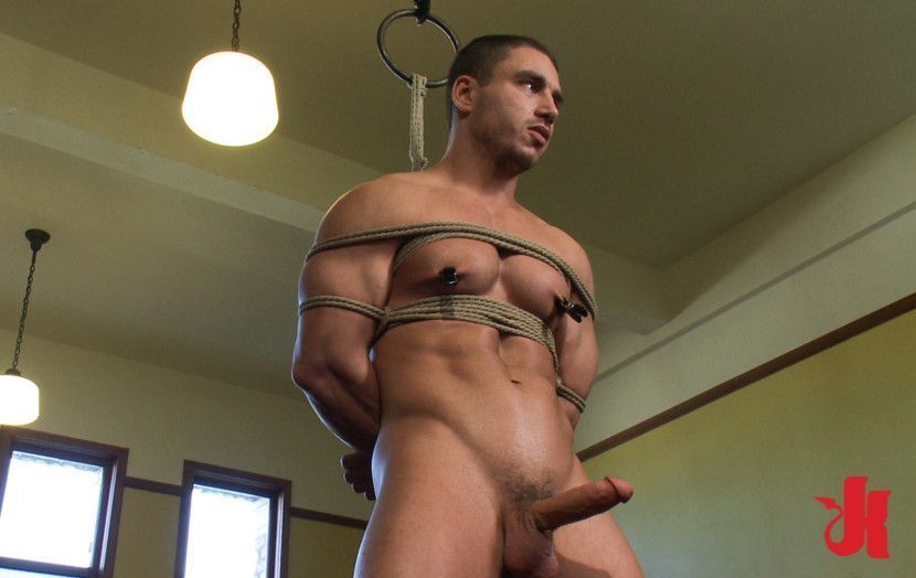 Gay bondage clamped a hand