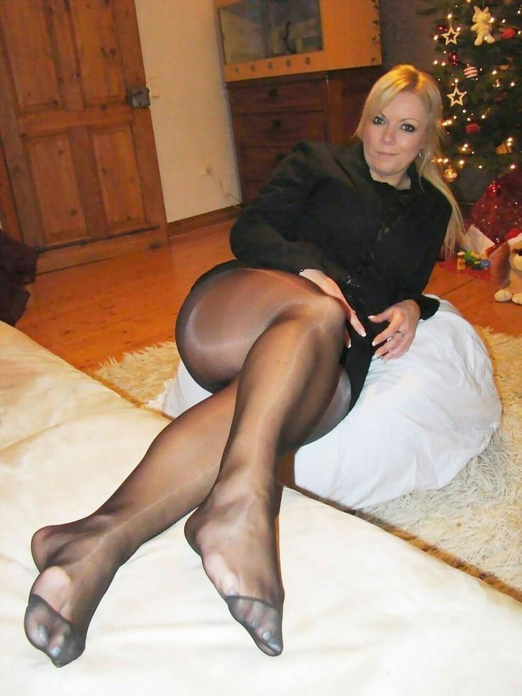 Super hot milf in black stockings