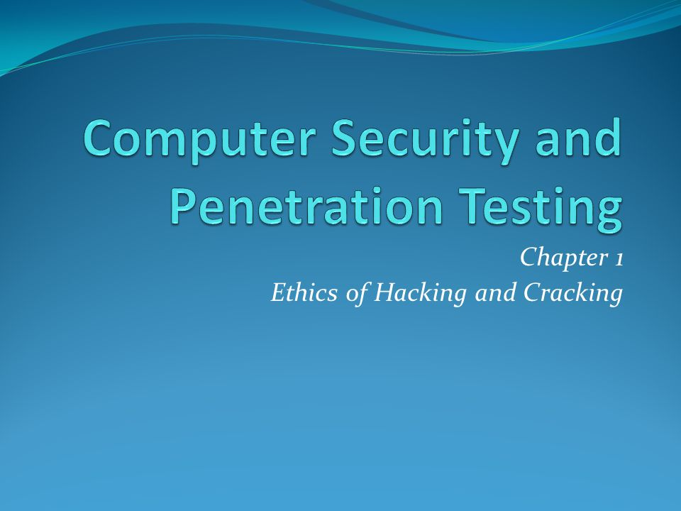 Winter reccomend Computer security and penetration testing