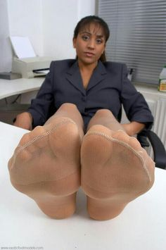 Ebony nylon foot worship