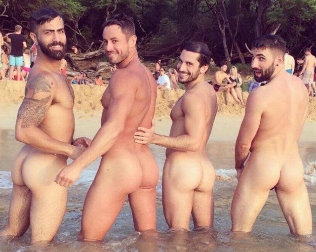 Naked gay beach bum