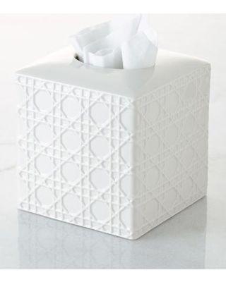 Wicker facial tissue holder