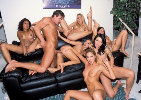 Remarkable multiple chicks on one dick