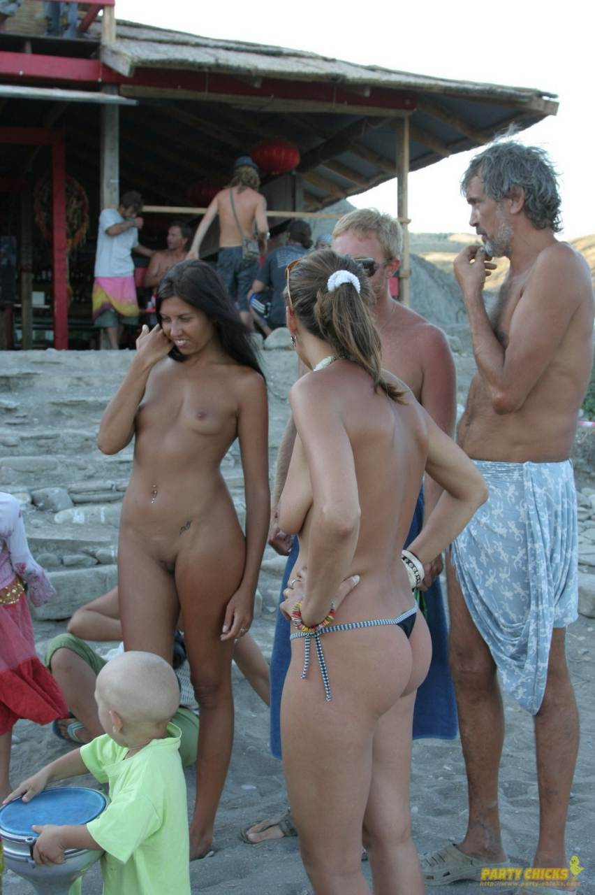 Nude beach party Christmas Party. Teens hot porn